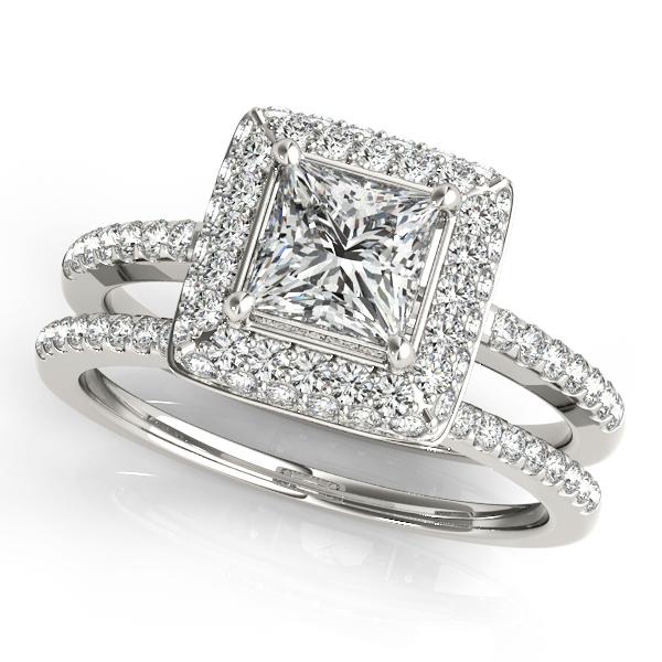 Princess Cut Diamond Halo Bridal Set Palladium 2 20ct Allurez