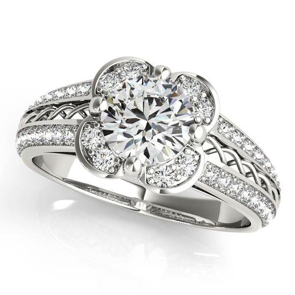 Micro-pave' Flower Halo Diamond Engagement Ring 14k White Gold 2.00ct