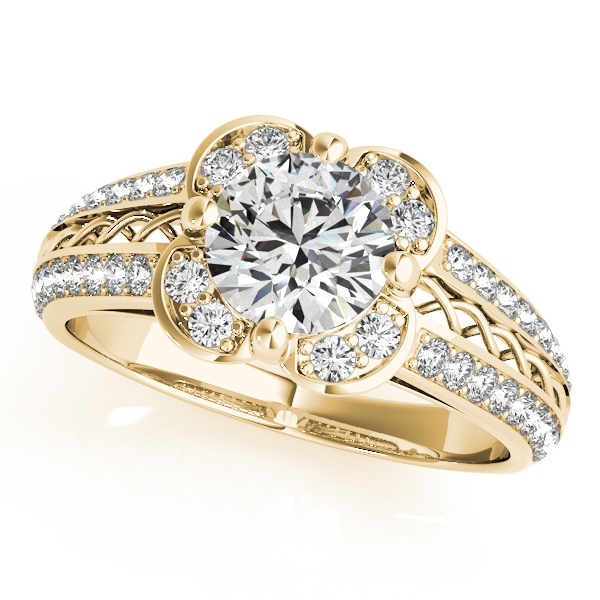 Artistic Micro-pave' Flower Diamond Bridal Set 14k Yellow Gold 2.25ct