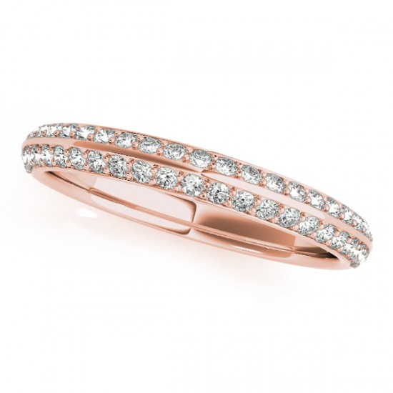 Double Row Micro Pave Diamond Wedding Band 14k Rose Gold 025ct