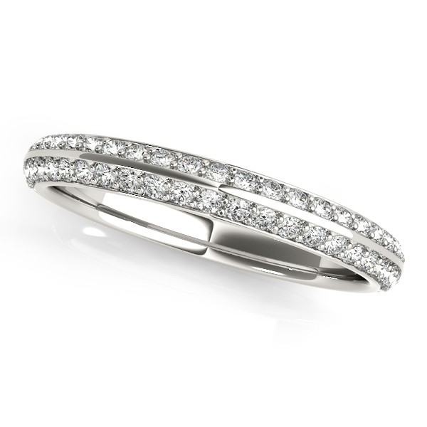 Double Row Micro Pave Diamond Wedding Band Platinum