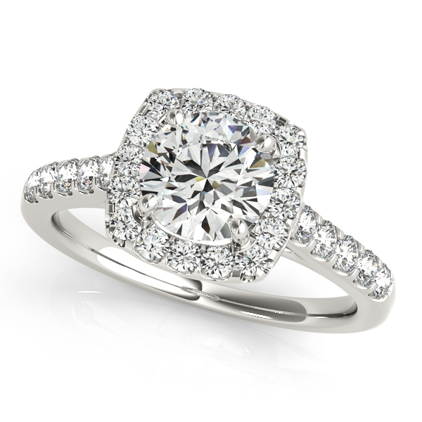Square Halo Round Diamond Engagement Ring 14k White Gold 138ct