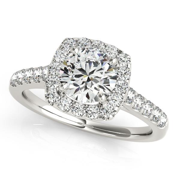 Square Halo Round Diamond Engagement Ring 18k White Gold (1.38ct)