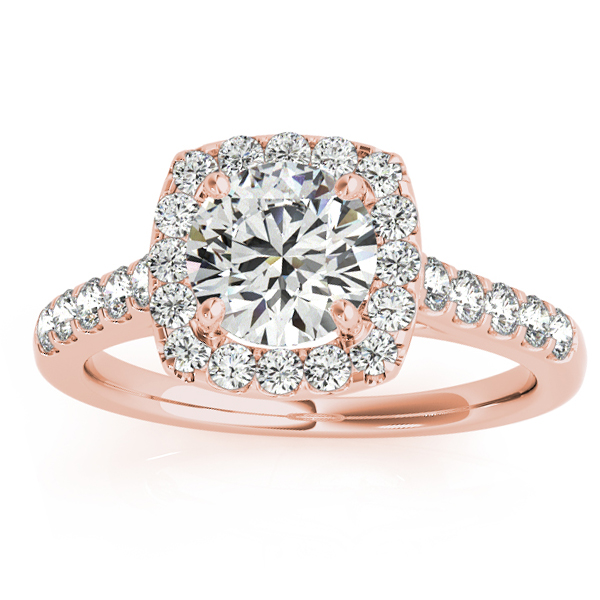 Halo Square Diamond Engagement Ring 14k Rose Gold (0.38ct)