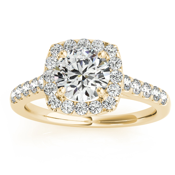 Halo Square Diamond Engagement Ring 14k Yellow Gold (0.38ct)