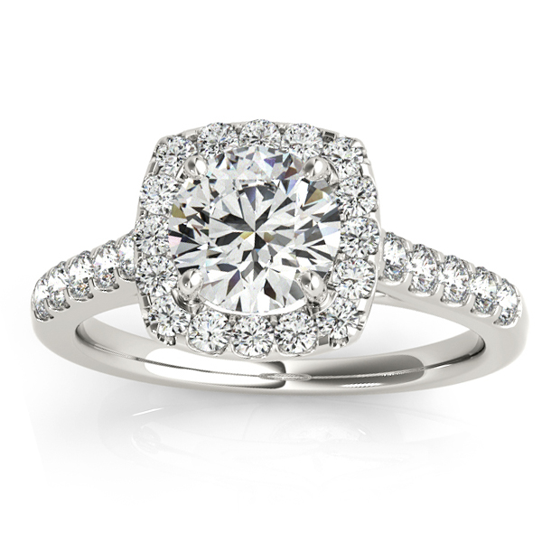 Halo Square Diamond Engagement Ring 18k White Gold (0.38ct)