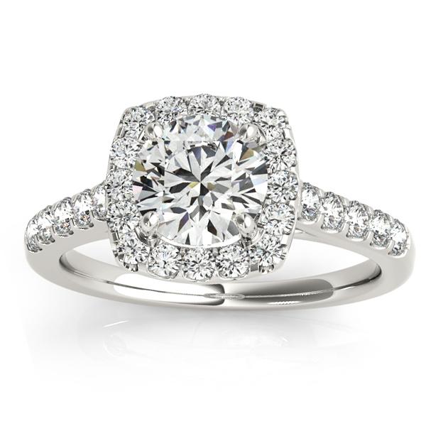 Halo Square Diamond Engagement Ring Palladium (0.38ct)