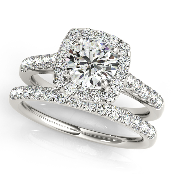Square Halo Round Diamond Bridal Set Platinum 1 61ct