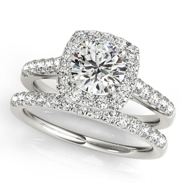 Square Halo Round Diamond Bridal Set Platinum (1.61ct)