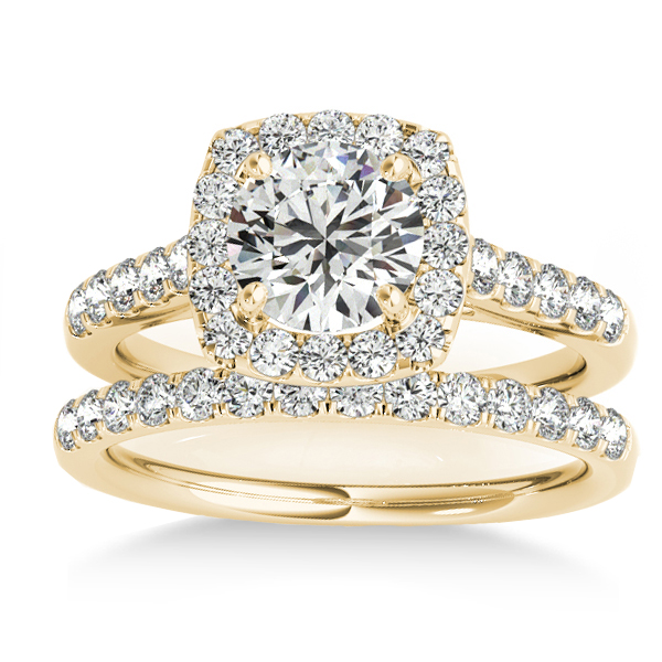 Halo Square Diamond Bridal Set 14k Yellow Gold (0.61ct)