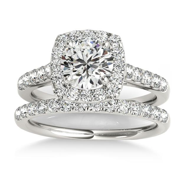 Halo Square Diamond Bridal Set Palladium (0.61ct)