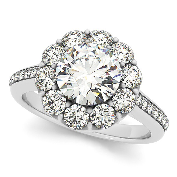 Floral Design Round Halo Engagement Ring 14k White Gold 2 50ct