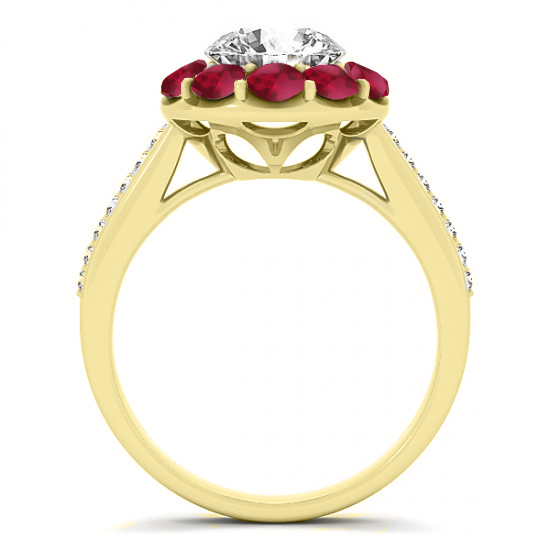 Diamond & Ruby Floral Round Halo Engagement Ring Setting 18k Yellow Gold (1.00ct)