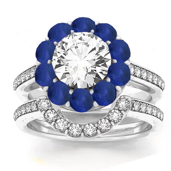 Diamond & Blue Sapphire Floral Bridal Set Setting 14k White Gold (1.23ct)
