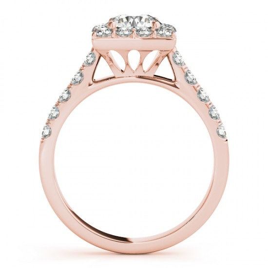 Diamond Halo Square Border Engagement Ring 14k Rose Gold 3 05ct