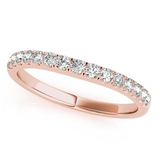 Diamond Prong Set Wedding Band 18k Rose Gold (0.23ct)