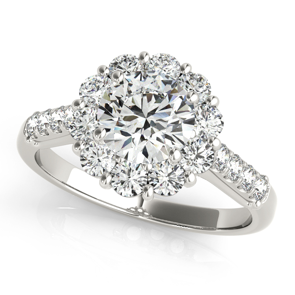 Floral Halo Round Diamond Engagement Ring 14k White Gold (1.82ct)