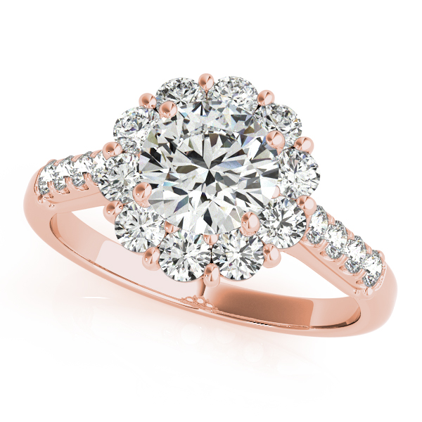 Floral Halo Round Diamond Engagement Ring 18k Rose Gold (1.82ct)