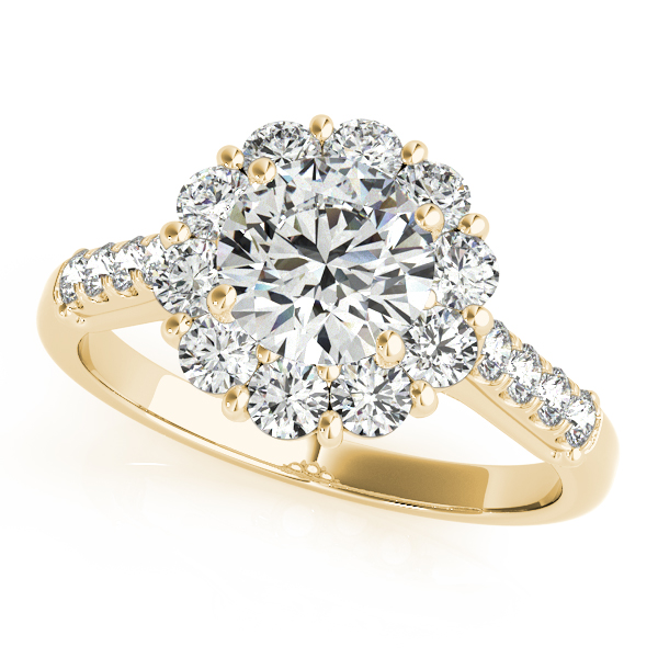 Floral Halo Round Diamond Engagement Ring 18k Yellow Gold (1.82ct)