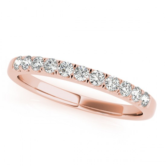 Diamond Prong Wedding Band 14k Rose Gold (0.30ct)
