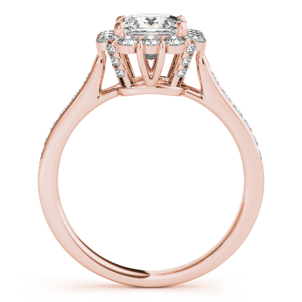 Princess Cut & Floral Halo Diamond Engagement Ring 14k Rose Gold (1.38ct)
