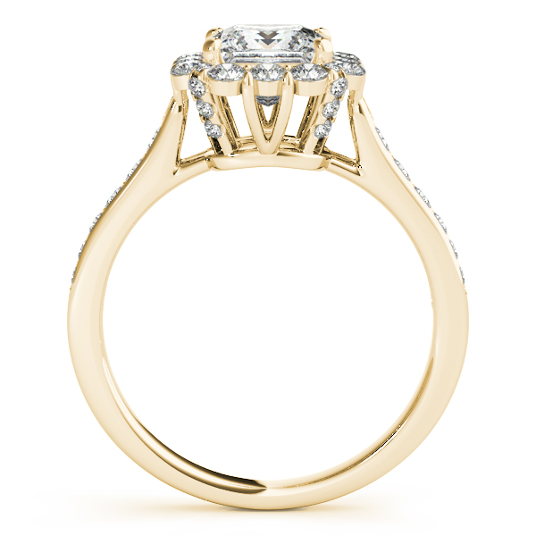 Princess Cut & Floral Halo Diamond Engagement Ring 14k Yellow Gold (1.38ct)