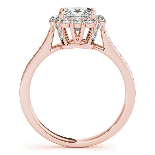 Princess Cut & Floral Halo Diamond Bridal Set 14k Rose Gold 1 58ct