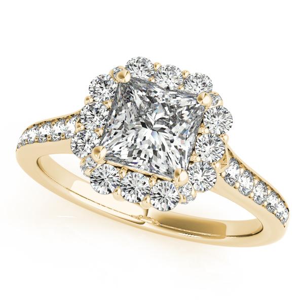 Princess Cut & Floral Halo Diamond Bridal Set 14k Yellow Gold (1.58ct)