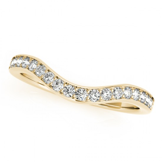 Semi Eternity Diamond Contoured Wedding Band 14k Yellow Gold (0.20ct)