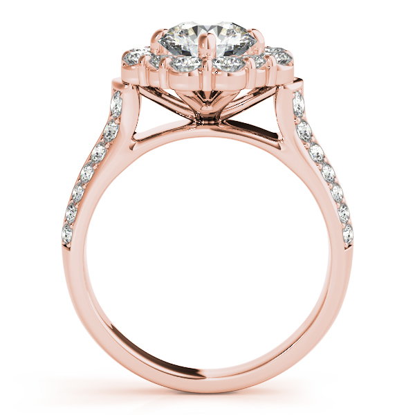 Round Cut Flower Halo Diamond Bridal Set in 14k Rose Gold (2.83ct)