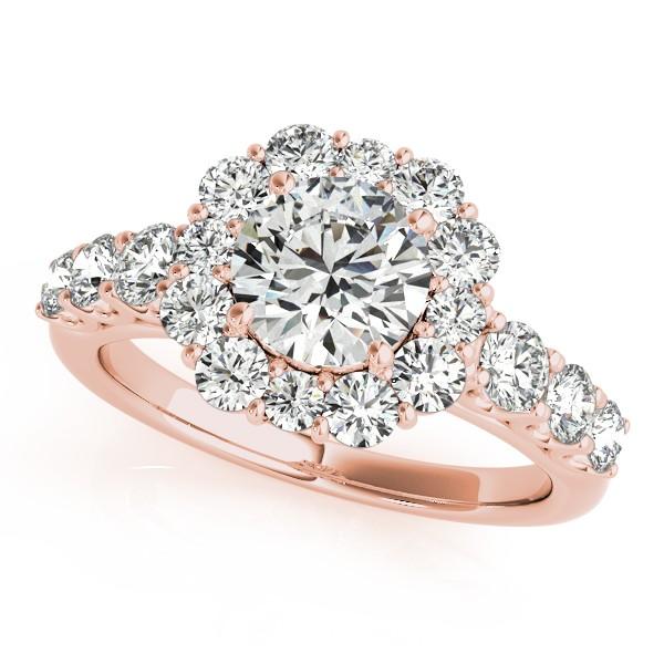 Diamond Frame Engagement Ring, Flower Design 14k Rose Gold 2.10ct