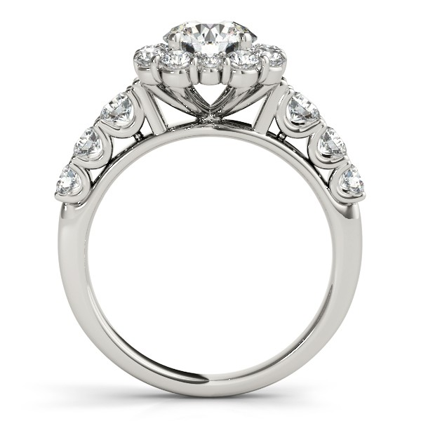 Diamond Frame Engagement Ring, Flower Design 14k White Gold 2.10ct