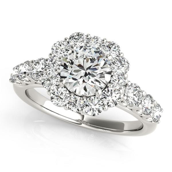 Diamond Frame Flower Ring & Band Bridal Set in 14k White Gold (2.30ct)