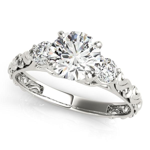 Vintage Heirloom Three Stone Engagement Ring 14k White Gold (2.25ct)