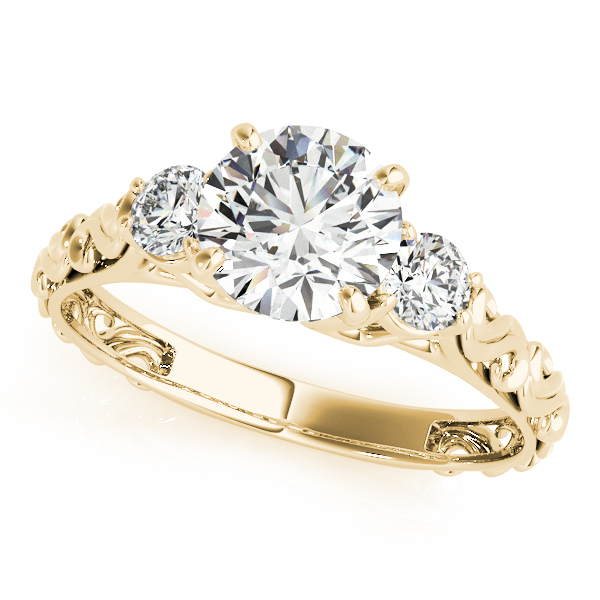 Vintage Heirloom Three Stone Engagement Ring 18k Yellow Gold (2.25ct)