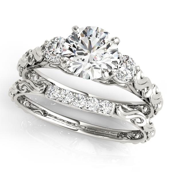 Vintage Heirloom Engagement Ring Bridal Set 18k White Gold (2.35ct)