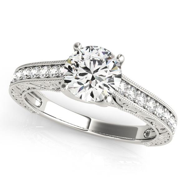 Vintage Round Cut Diamond Engagement Ring 14k White Gold (2.25ct)