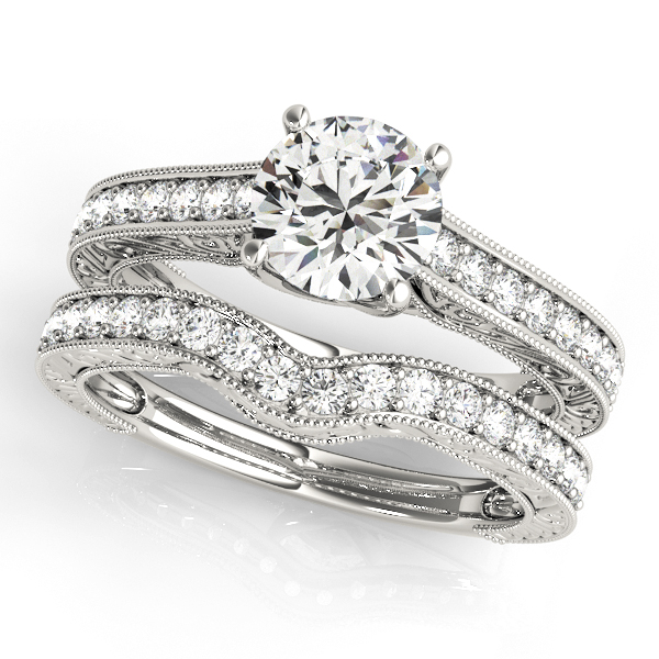 Vintage Diamond Engagement Ring Bridal Set 14k White Gold (2.50ct)