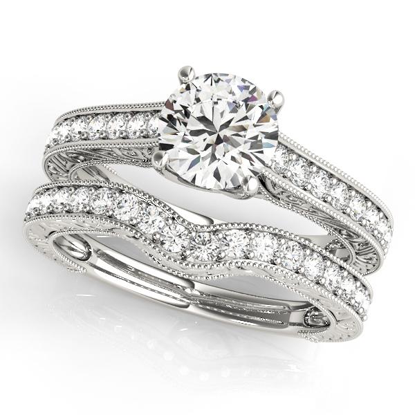 Vintage Diamond Engagement Ring Bridal Set 18k White Gold (2.50ct)