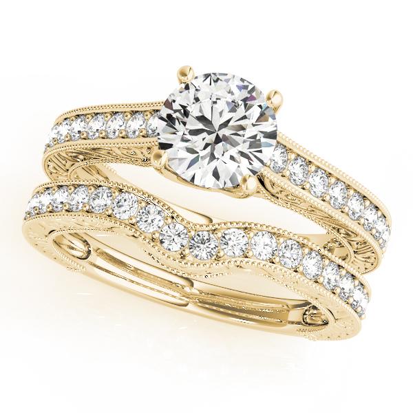Vintage Diamond Engagement Ring Bridal Set 18k Yellow Gold (2.50ct)