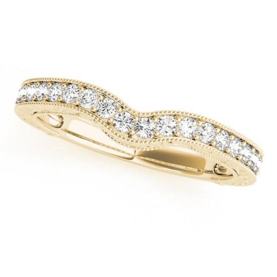 Vintage Contoured Diamond Wedding Band 18k Yellow Gold (0.25ct)