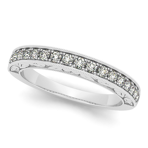 Semi Eternity Diamond Wedding Band Prong Set in 14k White Gold 0.33ct
