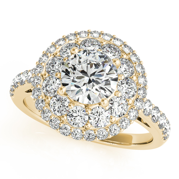 Double Halo Round Cut Diamond Engagement Ring 18k Yellow Gold (2.00ct)