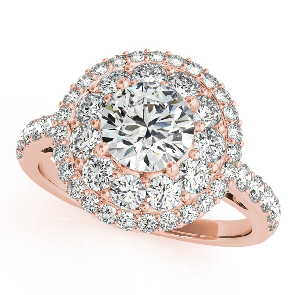 Double Halo Diamond Engagement Ring Bridal Set 18k Rose Gold (2.33ct)