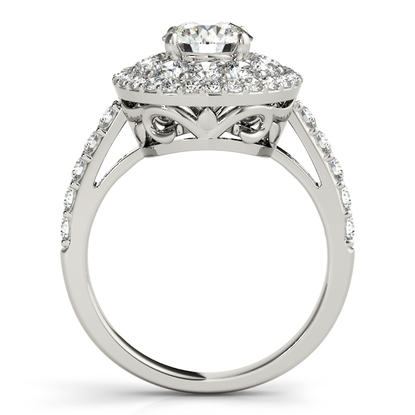 Double Halo Diamond Engagement Ring Bridal Set Palladium 2 33ct
