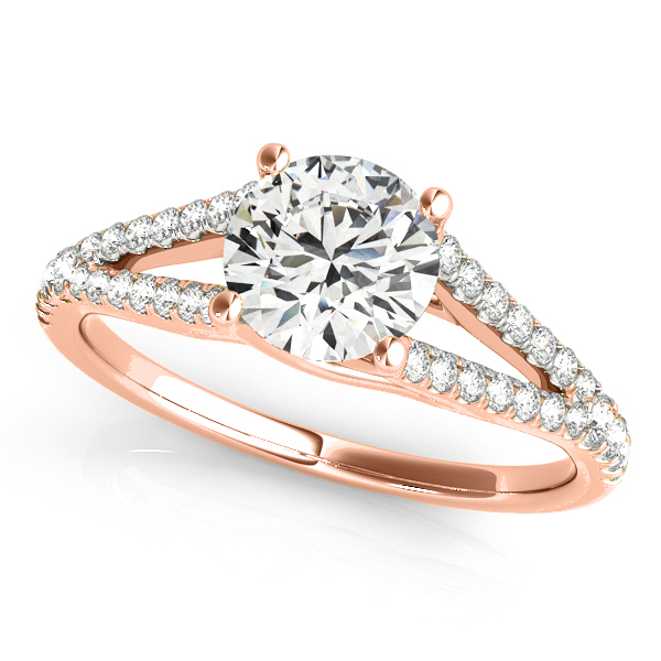 Lucidia Split Shank Multirow Engagement Ring 18k Rose Gold (1.18ct)
