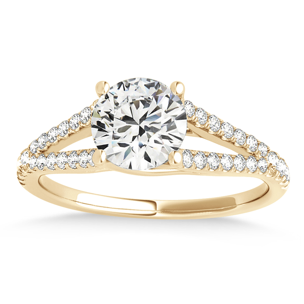 Lucidia Split Shank Multirow Engagement Ring 18k Yellow Gold (0.18ct)
