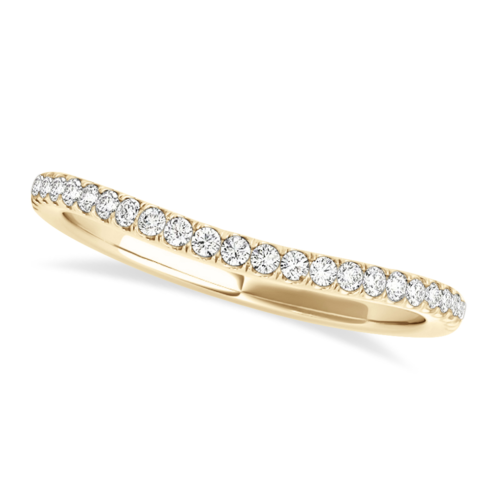 Diamond Curved Prong Wedding Band 18k Yellow Gold (0.10ct)