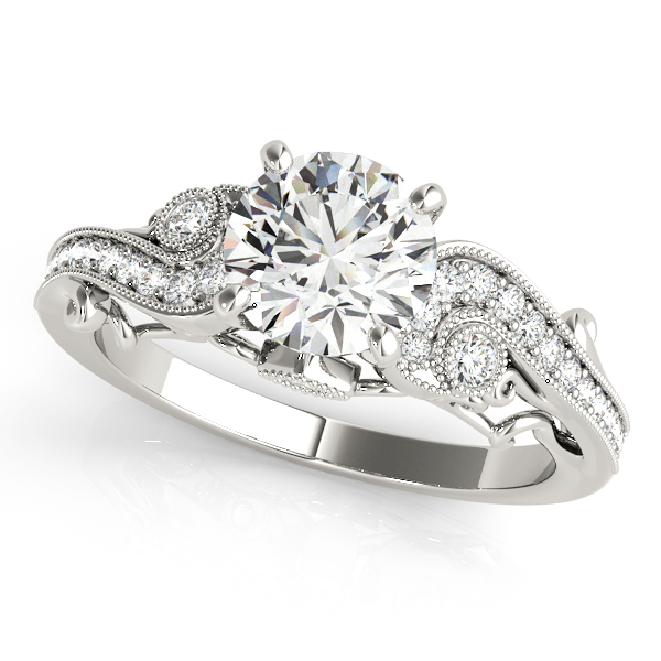 Vintage Swirl Diamond Engagement Ring 14k White Gold (2.20ct)