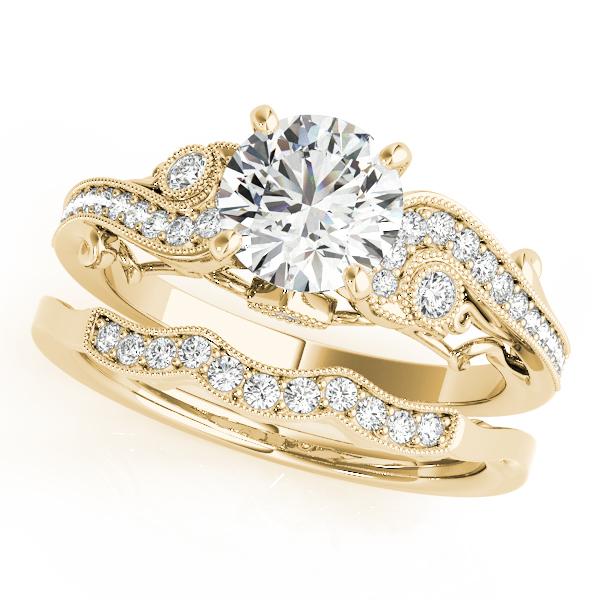 Vintage Swirl Diamond Engagement Ring Bridal Set 18k Yellow Gold 2.25ct